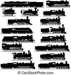 Old locomotives - Old railway. Black and white illustration...