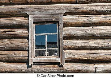 Old log house wood wall with window