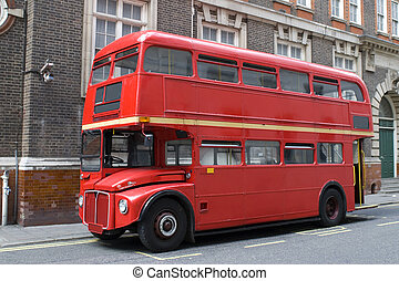Old London bus in the road
