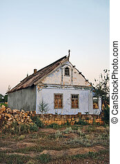 Old lonely house in village
