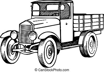 Old lorry on white background