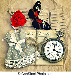 old love mails, vintage pocket watch, red rose flower and...