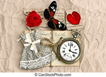 old love post cards and red rose flower - old love post...