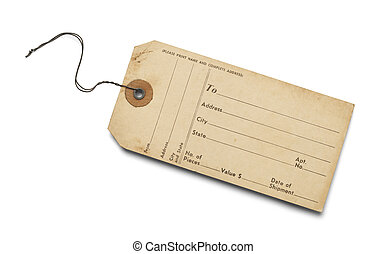 Old Bag Tag With Copy Space Isolated on White Background.