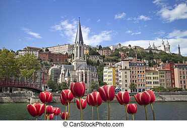 Old Lyon - cityscape of colorful old lyon france with red ...