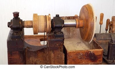 Old machine for amber processing. - Old machine for amber...