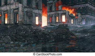 Old machine gun on destroyed after WW2 city street -...