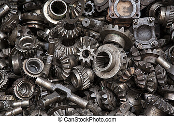 Old machine parts background - Old machine parts in second...