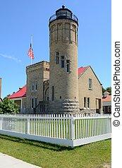Old Mackinac Point Lighthouse in Mackinaw City Michigan on Lake Huron