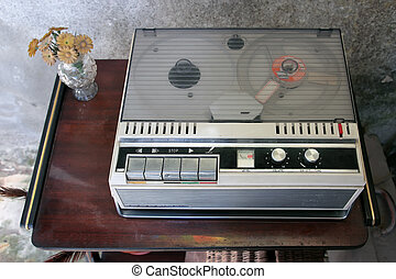 old magnetic tape recorder