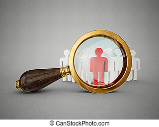 magnifier - old magnifier and man isolated on a grey...