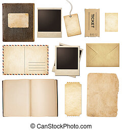 Old mail, paper, book, polaroid frames, stamp isolated...
