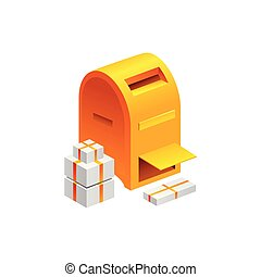 old mailbox symbol.. Vector Illustration Isolated on White Background
