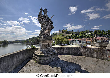 Statue on the Old Main Bridge in Wurzburg, Germany