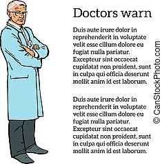Old male doctor standing arms crossed