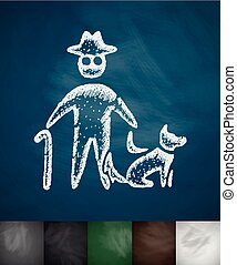 old man and dog icon. Hand drawn vector illustration....