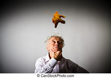 Old man and falling leaf.