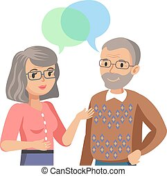 Old man and old women talking. Talk of spouse or friends. Vector illustration.