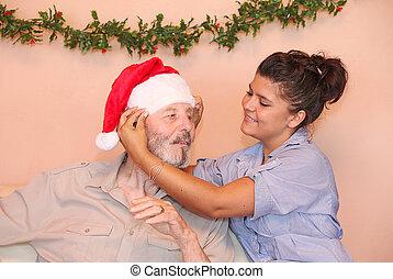 old man at christmas holiday