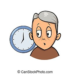 Old man being confused and forgetful about time. Cartoon ...