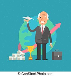 Old man businessman holding paper airplane