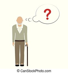 old man character can not remember vector illustration EPS10