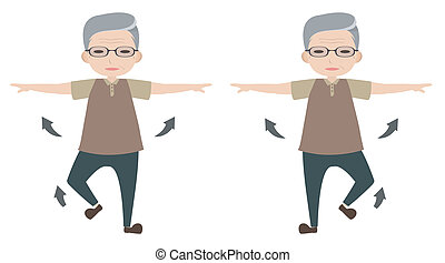 Old man character stretching arm and lifting foot