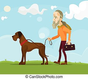 Old man character walking with dog. Vector flat cartoon illustration