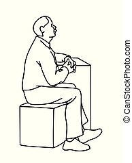 Old man crossing his hands, sitting on cube. Black lines isolated on white background. Concept. Vector illustration of old man with moustache in simple line art style. Monochromatic hand drawn sketch