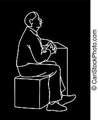 Old man crossing his hands, sitting on cube. White lines isolated on black background. Concept. Vector illustration of old man with moustache in simple line art style. Monochromatic hand drawn sketch.
