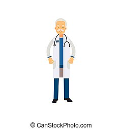 Old man doctor in uniform and stethoscope around his neck, standing isolated on white background