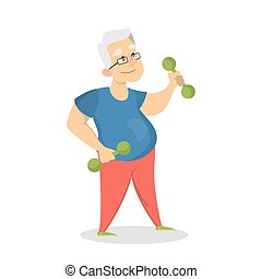 Old man doing exercises with dumbbells