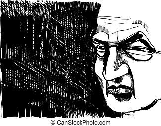 Drawing illustration of old man