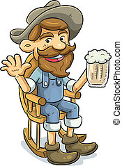Old Man Drinking a Beer - cartoon illustration of old man...