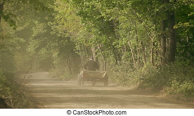 Old Man Driving Motorized Cart on Forest Gravel Road Stirring Up Dust