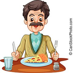 Old man eating pizza on the table