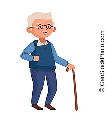 old man eldery walking with cane character