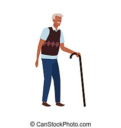 old man elegant with cane avatar character