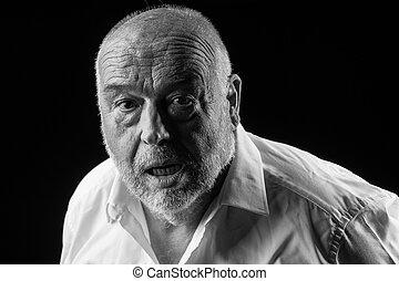 old man feeling sick having a stroke