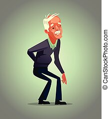 Old man grandpa character have back pain. Osteoporosis...