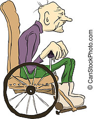 Grandpa sits in a wheelchair. Vector illustration. Cartoon.