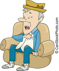 Illustration of Old Man Sitting on a Couch Experiencing a Heart Attack
