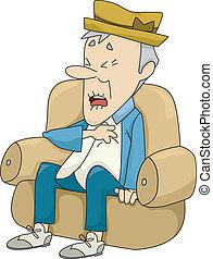 Old Man Having a Heart Attack - Illustration of Old Man...
