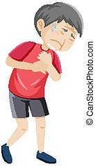 Old man having chest pain illustration
