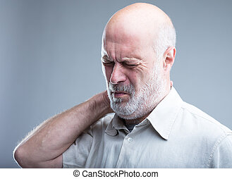 old man having pain in the neck