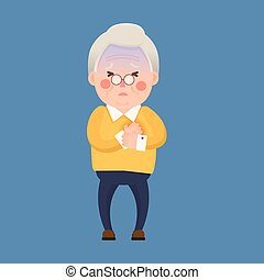 Vector Illustration of Old Man having Chest Pain, Heart Burn, Cartoon Character
