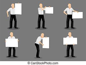 Old Man Holding Placard Vector Illustration