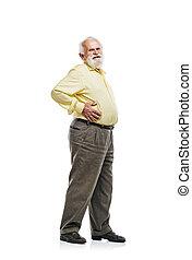 Old man holding tummy