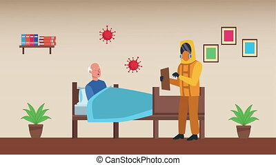 old man in bed with biosafety worker stay at home for covid19 prevention method ,4k video animation