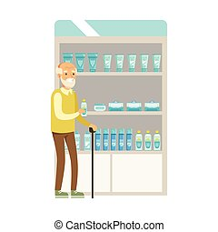Old Man In Pharmacy Choosing And Buying Drugs And Cosmetics, Part Of Set Of Drugstore Scenes With Pharmacists And Clients